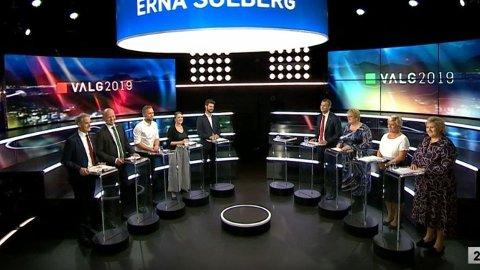 PARTILEDERDEBATT: Partilederne var samlet i Bergen til nest siste debatt før valget.