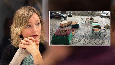 OMSTRIDT: Fjerning av parkeringsplasser og etablering av utekontorer og sittegrupper (innfelt) et et omstridt grep byrådet har tatt i Oslo. Nettavisens gjesteredaktør, byråd Inga Marte Torkildsen, gleder seg over responsen i meningsmålingen.