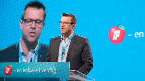 Frank Sve på talerstolen på Fremskrittspartiets landsmøte i 2018. Nå skal han samarbeide med Arbeiderpartiet i fylkestinget i Møre og Romsdal. Foto: Vidar Ruud / NTB scanpix