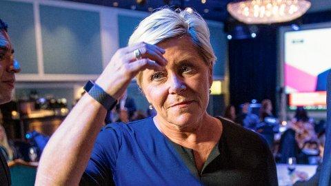 Partileder Siv Jensen under valgvaken til Fremskrittspartiet på Hotel Bristol i Oslo mandag denne uken.