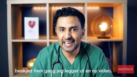 KJENT PROFIL: Slik presenterer lege og forsker Wasim Zahid seg på YouTube. Zahid sto på 43. plass på Ap-lista i Bærum, men fikk så mange personstemer at han løftes inn i kommunestyret.