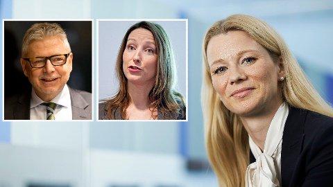 DE ER UENIGE: Kari Due-Andresen i Handelsbanken (t. h.) og Kjersti Haugland i DNB tror ikke Norges Bank vil røre renten til torsdag, mens Erik Bruce i Nordea er sikker på en økning.
