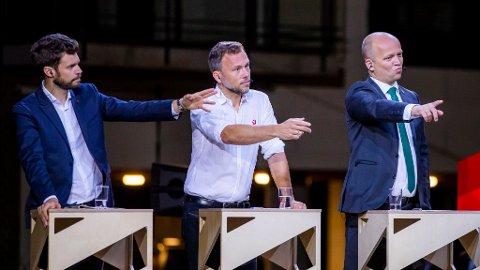 VIL HA NORGE UT: I kommunevalget stemte én av fire velgere på partier som vil ha Norge ut av EØS-avtalen. Her er deres partiledere i en debatt under Arendalsuka: Bjørnar Moxnes (Rødt), Audun Lysbakken (SV) og Trygve Slagsvold Vedum (Sp).