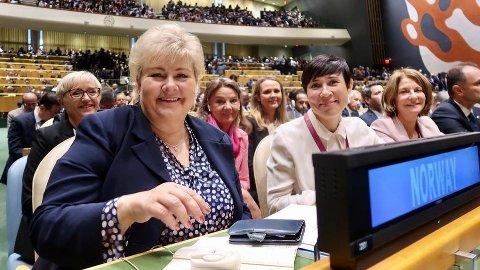 Dette bildet er historisk fordi det for første gang bare er kvinner på Norges plass under åpningen av hoveddebatten i FNs generalforsamling.