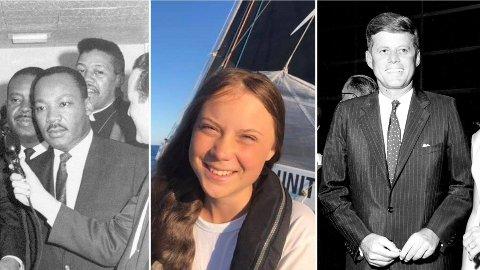 ORDET I SIN MAKT: Tre personer som ifølge kommentatoren alle har - eller hadde - ordet i sin makt. Fra venstre: Borgerrettsforkjemper Martin Luther King, miljø- og klimaaktivisten Greta Thunberg og tidligere president i USA, John F. Kennedy.