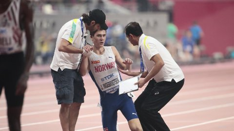 BLODSLIT: Jakob Ingebrigtsen ga absolutt alt i VM-finalen på 5000 meter i Doha.