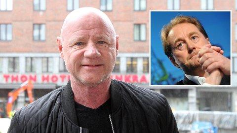 Den kjente torpedoen Jan Erik «Jannik» Iversen er tiltalt for forsøk på grov pengeutpressing av Kjell Inge Røkke (innfelt). Han nekter straffskyld.
