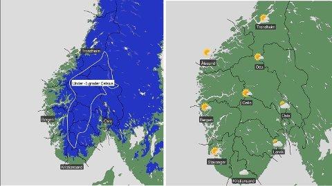 Sør-Norge har en kald og klar helg i vente, ifølge meteorologene, som advarer for nattefrost (kartet til venstre).
