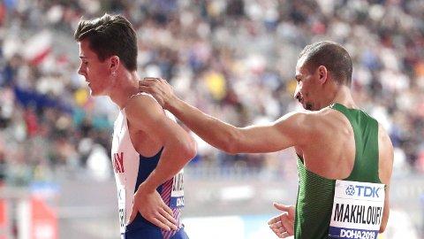 SKUFFET: Jakob Ingebrigtsen etter 1500 meter, finale, herrer under VM i friidrett 2019 i Doha i Qatar i Khalifa International Stadium.