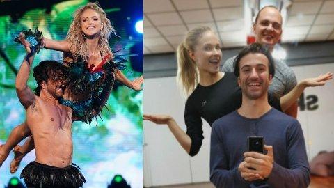 «Skal vi danse»-profilSantino Mirenna fikk skulderen ut av ledd under et løft på dansegulvet sammen med Emilie Nereng for tre uker siden. Nå har han fått klarsignal til å danse alene med Nereng førstkommende lørdag. Foto: TV2/Santino Mirenna.