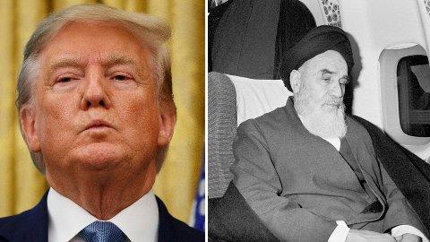 Donald Trump og Ayatollah Khomeini.