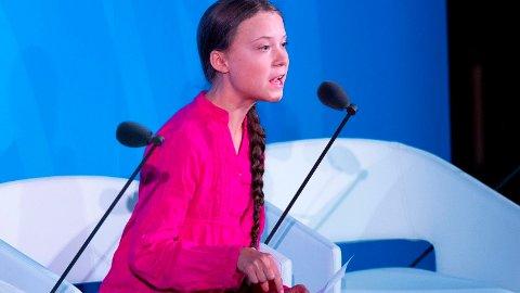 Greta Thunberg med klar tale til verdens ledere under FNs klimamøte i New York i september.