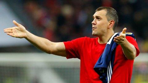 Kraftspissen Artem Dzyuba scoret to av målene for Russland i torsdagens 4-0 seier hjemme mot Skottland.