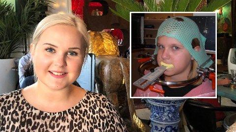 KREFTBEHANDLING: Vilde Lenning ble kreftsyk som sjuåring i 2003. Først i 2009 kunne legene behandle hjernesvulsten (innfelt bilde), og Vilde måtte til Uppsala i Sverige for å få protonstrålebehandling.