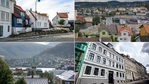 SJEKK BOLIGPRISENE: For første gang kan du sjekke boligprisene i området akkurat hvor du bor hos Nettavisen Økonomi. Her er Stavanger (oppe f.v.), Skien, Tromsø og Oslo avbildet.