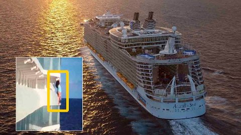 Det Florida-baserte cruiserederiet Royal Caribbean gjorde kort prosess da de fikk se dette bildet av en kvinne på jakt etter den perfekte selfien.