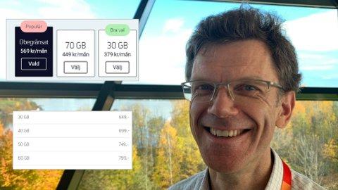 HÅVER INN: Norske Telenor-kunder har ingen tilbud om ubegrenset datamengde. I Sverige koster dette 569 kroner (innfelt øverst), mens nordmenn må ut med 799 kroner for 60 GB (innfelt nederst). Inntektene fra norske kunder øker, og databruken er hovedforklaringen, forteller Telenor Norge-sjef Petter-Børre Furberg.
