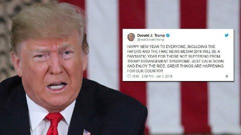 President Donald Trump er glad i å bruke Twitter. Her er hans nyttårshilsen fra i vinter.