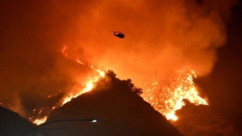 STORT OMFANG: Getty-brannen spredde seg raskt natt til mandag lokal tid.