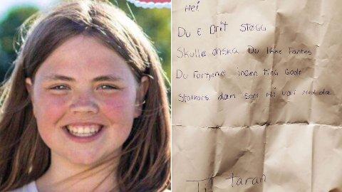 MOBBEBREV: Dette brevet mottok Taran Jakobsen. Nå er episoden anmeldt, mens støttemeldingene til 14-åringen fosser inn.