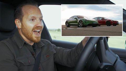 Jack Rix i «Top Gear» bak rattet på en Porsche Taycan Turbos S. Han har vondt for å begripe resultatet etter at han kjørte opp kapp med en Tesla Model S.