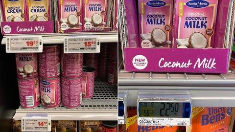 Til venstre ser vi en svensk butikk som fortsatt selger begge pakningene, der prisforskjellen er 66 prosent per liter. Til høyre er den nye pakningen i norsk butikk. (PS: Lappen på bildet til høyre har ikke fått oppdatert beskrivelse etter emballasjebytte)