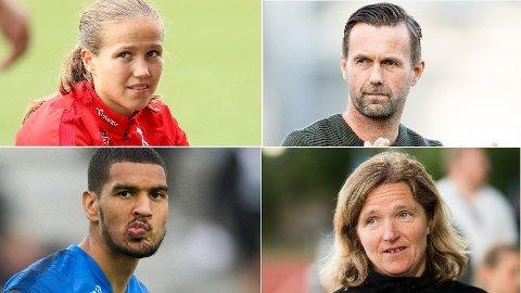 SAMME YRKE, ULIK LØNN: Guro Reiten, Ronny Deila, Ohi Omoijuanfo og Hege Riise var alle fotballtrenere eller fotballspillere i Eliteserien/Toppserien 2018. Lønningsposen er imidlertid ulik.