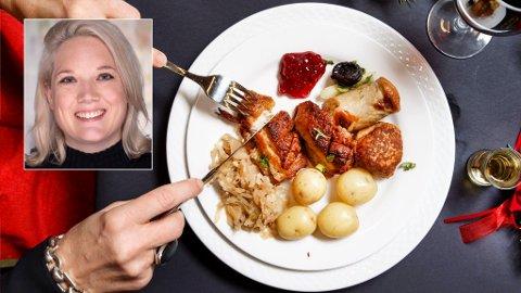 KJØTTSTRID: Oslo kommunes ansatte og politikere må be om å få ribbe, medisterkaker og pinnekjøtt på årets julebord, noe Frps bystyrepolitiker Aina Stenersen (innfelt) har lite til overs for. Hun reagerer på at standarden blir vegetarmat.