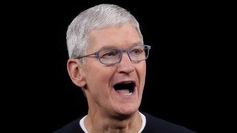 Planene til Apple, som kommer frem i den hemmelige presentasjonen som har lekket ut til The Information, ligger fremtiden i AR-briller. Her er toppsjefen i Apple, Tim Cook, under en presentasjon på Apples hovedkvarter i september i år.