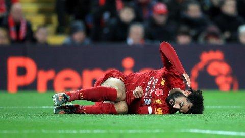 LANGVARIG SKADE? Salah forverret ankelskaden under søndagens kamp mot Manchester City. 27-åringen har meldt forfall til Egypts kommende landskamper.