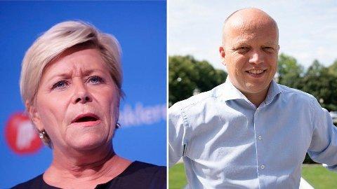 Finansminister Siv Jensen mener Senterpartiet og Trygve Slagsvold Vedum bløffer om bil - og at de ikke vil bli bilistenes parti.