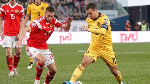 STORFORM: Eden Hazard var i storform mot Russland i lørdagens EM-kvalifiseringskamp.