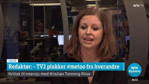 Debattredaktør Bente Rognan Gravklev i Dagsavisen er kritisk til at TV 2 sendte intervju med Kristian Tonning Riise. Skjermdump NRK