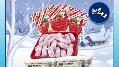 JULEGODTERI: I denne boksen finner du alt du trenger til julekosen.
