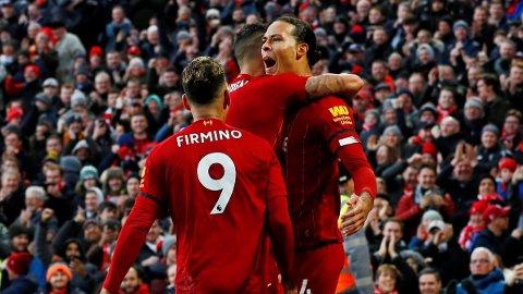 TOMÅLSCORER: Virgil van Dijk har viste styrke på Anfield lørdag.