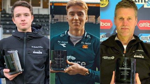 VINNER NETTAVISEN-PRISEN: Håkon Evjen (t.v), Kristian Thorstvedt og Kjetil Knutsen (t.h) kaprer hver sin pris for prestasjonene i sesongen 2019.