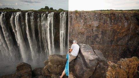 To besøkende til Viktoria-fallene tar bilder med 11 måneders mellomrom. Bildet til venstre er tatt i januar, bildet til høyre er tatt i desember.
