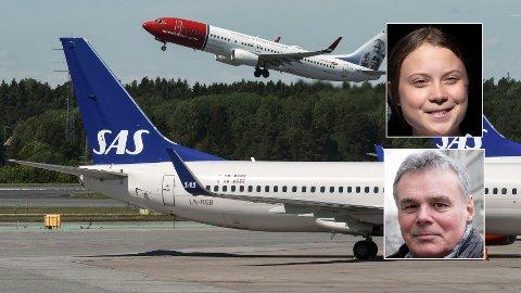 STADIG FALL: Det er kraftig nedgang i antallet flypassasjerer i Sverige.