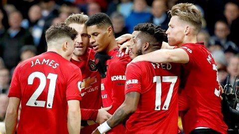 NETTET: Marcus Rashford scoret det første målet mot Manchester City i 2-1-seieren på Etihad Stadium.