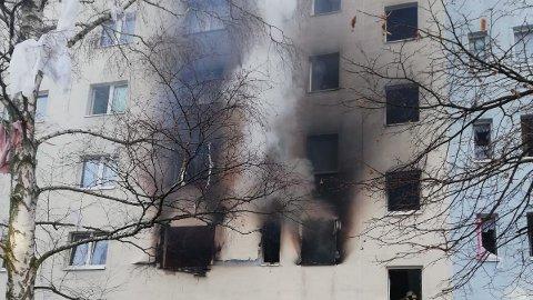 EKSPLOSJON: Eksplosjonen skal ha skjedd i en boligblokk i Bertol Brechts gate i byen Blankenburg øst i Tyskland.
