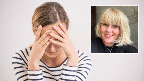 HELSEANGST: Gudrun Svensson (innfelt) hadde overdreven helseangst fram til hun var i 30-årene. Nå lever hun et mindre bekymringsfullt liv enn før.