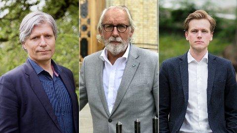 Venstre- trioen Ola Elvestuen (t.v.), Carl-Erik Grimstad og Sondre Hansmark går hardt ut mot senterpartiet og Geir Pollestad i diskusjonen om rus og kriminalisering rundt temaet.