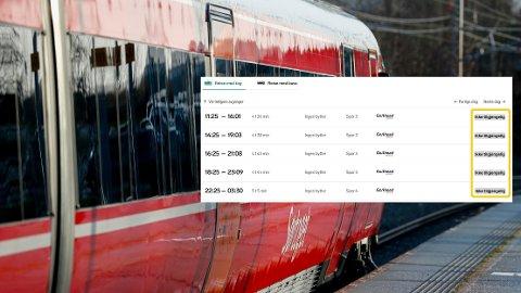 UTSOLGT: Fredag var det ikke mulig å bestille togbillett fra Oslo til Kristiansand. Likevel kunne man få fly ned samme dag.