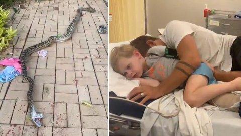 OVERLEVDE: Fire år gamle Clifford overlevde dødskampen mot den enorme slangen, takket være hans far.