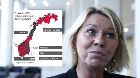 NYTT KART: Kommunal- og moderniseringsminister Monica Mæland (H) er ansvarlig statsråd for gjennomføringen av kommunereformen som fra årsskiftet innebærer 43 nye kommuner og seks nye fylker.