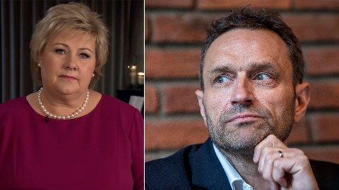 RIS OG ROS: Arild Hermstad, nasjonal talsperson for Miljøpartiet de Grønne, mener statsminister Erna Solberg (H) ikke tar innover seg de omstillingene som Norge må igjennom for å få ned utslippene. Hermstad gir statsministeren både ris og ros for årets nyttårstale.