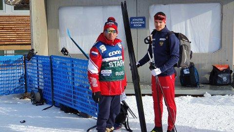 IKKE FORNØYD: Andrej Larkov (til høyre) var mildt sagt lite fornøyd etter at han brakk staven og ble disket i sin kvartfinale.