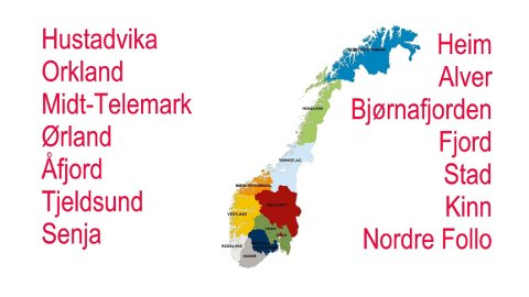 NYE KOMMUNER: Kan du plassere disse nye kommunene på det nye norgeskartet? Fra 2016 til 2020 er antallet kommuner i Norge redusert fra 428 til 356.