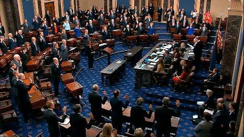 SENATET: Torsdag i forrige uke ble riksrettstiltalen lest opp i Senatet. Tirsdag starter behandlingen av selve riksrettssaken.