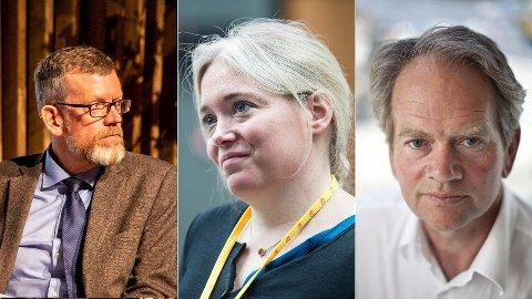 MENINGSBÆRERE: Tidligere politisk redaktør i Dagens Næringsliv, som nå har meldt overgang til tilsvarende stilling i Aftenposten, Kjetil B. Alstadheim, VGs profilerte meningsbærer Tone Sofie Aglen og Magnus Takvam, politisk kommentator i NRK.